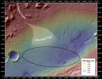 This image shows the topography, with shading added, around the area where NASA's Curiosity rover landed. An alluvial fan, or fan-shaped deposit where debris spreads out downslope, has been highlighted in lighter colors for better viewing.