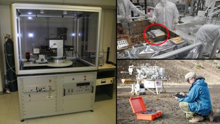 A conventional X-ray diffraction instrument (left) is the size of a large refrigerator, in contrast to the compact size of the Chemistry and Mineralogy (CheMin) instrument on NASA's Curiosity rover (top right).
