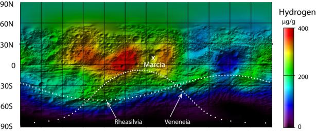 This map from NASA's Dawn mission shows the global distribution of hydrogen on the surface of the giant asteroid Vesta.