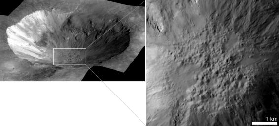 This perspective view of Cornelia crater on the giant asteroid Vesta shows an example of 'pitted terrain,' an unexpected discovery in data returned by NASA's Dawn mission.