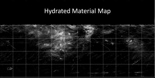 This map from NASA's Dawn mission indicates the presence of hydrated minerals on the giant asteroid Vesta about 30 degrees north latitude, in August 2011. At the time, it was winter in Vesta's northern hemisphere.