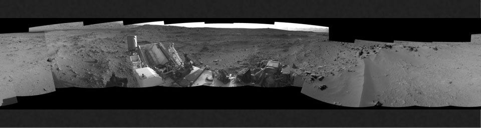 This 360-degree panorama from NASA's Mars rover Curiosity shows the rocky terrain of 'Rocknest' surrounding it as of its 55th Martian day, or sol, of the mission (Oct. 1, 2012).
