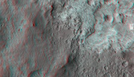 This 3-D image shows the upcoming science destination for NASA's Mars rover Curiosity, a region dubbed 'Glenelg,' where three different types of material seen from orbit come together.