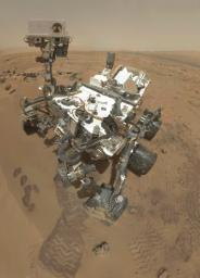 NASA's Curiosity rover used the Mars Hand Lens Imager (MAHLI) to capture the set of thumbnail images stitched together to create this full-color self-portrait.