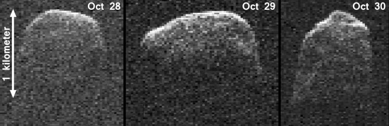 This composite image of asteroid 2007 PA8 was obtained using data taken by NASA's 230-foot-wide (70-meter) Deep Space Network antenna at Goldstone, Calif.