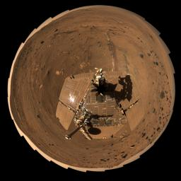 This self-portrait of NASA's Mars Exploration Rover Spirit is a polar projection of the 360-degree 'McMurdo' panorama made from images taken by Spirit from April through October 2006.