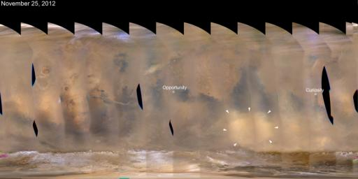 A regional dust storm visible in the southern hemisphere of Mars in this nearly global mosaic of observations made by the Mars Color Imager on NASA's Mars Reconnaissance Orbiter on Nov. 25, 2012, has contracted from its size a week earlier.