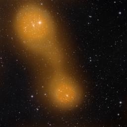 Planck has discovered a bridge of hot gas that connects galaxy clusters Abell 399 (lower center) and Abell 401 (top left). The galaxy pair is located about a billion light-years from Earth.