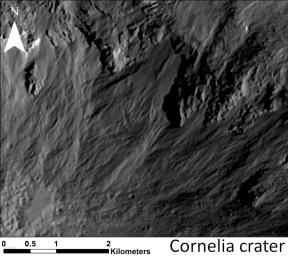 This image shows a close-up of long, narrow, sinuous gullies that scientists on NASA's Dawn mission have found on the giant asteroid Vesta. The crater shown here is called Cornelia.