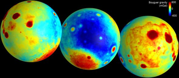 These maps of the moon show the 'Bouguer' gravity anomalies as measured by NASA's GRAIL mission. Red areas have stronger gravity, while blue areas have weaker gravity.
