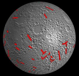 This map of one side of the moon shows the location of some of the giant dikes identified by NASA's GRAIL mission.