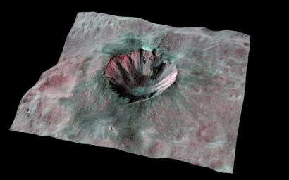 This composite-color view from NASA's Dawn mission shows Cornelia Crater, streaked with dark materials, on the giant asteroid Vesta. You need 3D glasses to view this image.