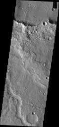 This unnamed channel is located in Terra Cimmeria as seen by NASA's 2001 Mars Odyssey spacecraft.