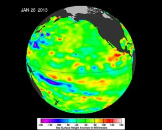 The latest image of sea surface heights in the Pacific Ocean from NASA's Jason-2 satellite shows that the equatorial Pacific Ocean is now in its 10th month of being locked in what some call a neutral, or 'La Nada' state.