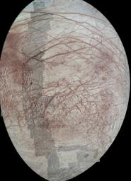 This view of Jupiter's moon Europa features several regional-resolution mosaics overlaid on a lower resolution global view for context. The regional views were obtained during several different flybys of the moon by NASA's Galileo mission.