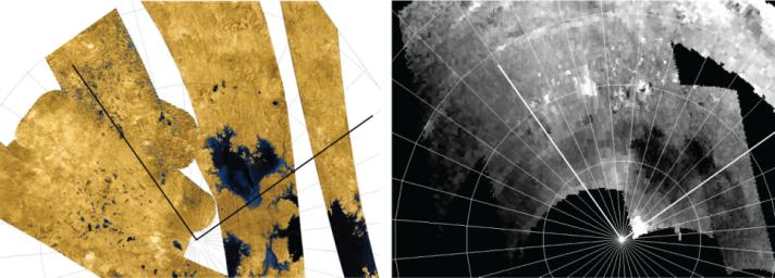 A dense network of small rivers or swampy areas appears to connect some of the seas on Saturn's moon Titan, as seen in this comparison of data of the same area from two instruments on NASA's Cassini spacecraft.