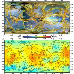 To create the first global, topographic map of Saturn's moon Titan, scientists analyzed data from NASA's Cassini spacecraft and a mathematical process called splining.