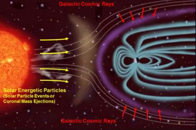 This illustration depicts the two main types of radiation that NASA's Radiation Assessment Detector (RAD) onboard Curiosity monitors, and how the magnetic field around Earth affects the radiation in space near Earth.