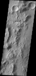 This image from NASA's Mars Odyssey spacecraft shows the western rim of Gale Crater. Several channels dissect the rim of the crater.