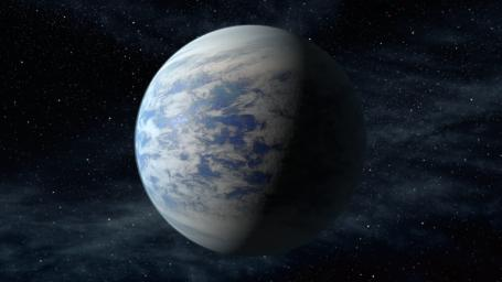 The artist's concept depicts Kepler-69c, a super-Earth-size planet in the habitable zone of a star like our sun, located about 2,700 light-years from Earth in the constellation Cygnus.