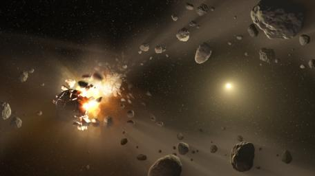 This artist's concept catastrophic collisions between asteroids located in the belt between Mars and Jupiter and how they have formed families of objects on similar orbits around the sun.