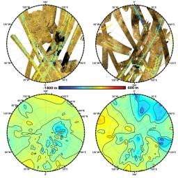 These polar maps show the first global, topographic mapping of Saturn's moon Titan, using data from NASA's Cassini mission. To create these maps, scientists employed a mathematical process called splining.
