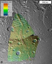 This image, which is composed of data obtained by NASA's Cassini spacecraft, shows the topography of a mountain known as Janiculum Dorsa on the Saturnian moon Dione.