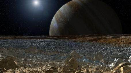 This artist's concept shows a simulated view from the surface of Jupiter's moon Europa. Europa's potentially rough, icy surface, tinged with reddish areas that scientists hope to learn more about.