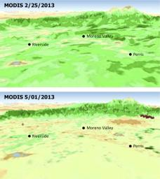 The quick dry-out of vegetation in Southern California this year is depicted in this pair of images from the Moderate Resolution Imaging Spectroradiometer (MODIS) sensor on NASA's Aqua spacecraft.