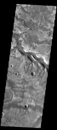 This image captured by NASA's 2001 Mars Odyssey spacecraft shows a section of Samara Valles north of yesterday's image.