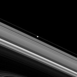 This image taken by NASA's Cassini spacecraft shows Epimetheus, which orbits Saturn well outside of the F ring's orbit.