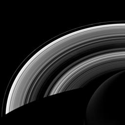 This view, acquired by NASA's Cassini spacecraft, looks toward the unilluminated side of Saturn's rings from about 47 degrees below the ringplane.