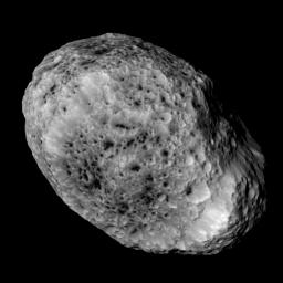 NASA's Cassini imaging scientists processed this view of Saturn's moon Hyperion, taken during a close flyby on May 31, 2015. This flyby marks the mission's final close approach to Saturn's largest irregularly shaped moon.