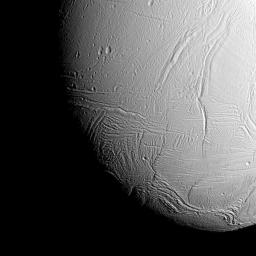 NASA image - near the south pole of Saturn's icy moon Enceladus