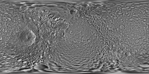 This global map of Saturn's moon Mimas was created using images taken during NASA's Cassini spacecraft flybys. The moon's large, distinguishing crater, Herschel, is seen on the map at left.