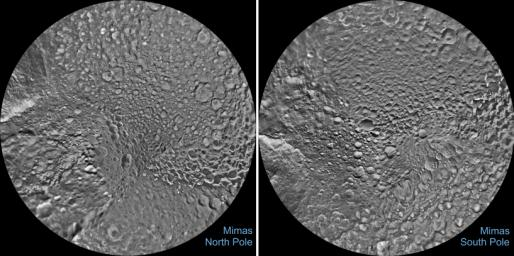 The northern and southern hemispheres of Saturn's moon Mimas are seen in these polar stereographic maps, mosaicked from the best-available images taken by NASA's Cassini spacecraft.