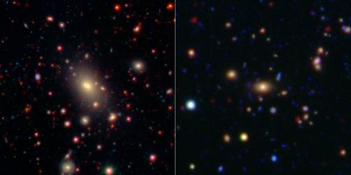 This image shows two of the galaxy clusters observed by NASA's WISE and Spitzer Space Telescope missions. Galaxy clusters are among the most massive structures in the universe.