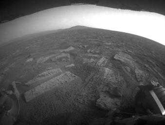 This view shows the terrain that NASA's Mars Exploration Rover Opportunity is crossing in a flat area called 'Botany Bay' on the way toward 'Solander Point,' which is visible on the horizon.
