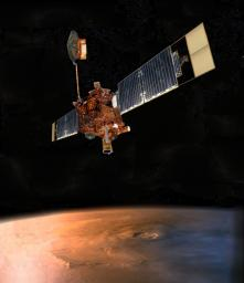 An artist's concept of NASA's Mars Global Surveyor (MGS) flying over Mars.