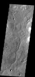 This small unnamed channel is located in southern Tyrrhena Terra as seen by NASA's 2001 Mars Odyssey spacecraft.