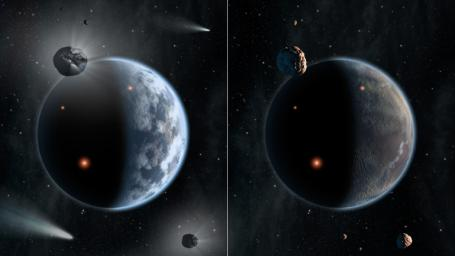 This artist's concept illustrates the fate of two different planets: the one on the left is similar to Earth, made up largely of silicate-based rocks with oceans coating its surface.