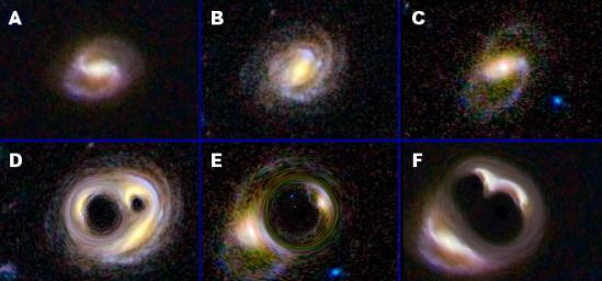 Warping occurs naturally in nature in a phenomenon called strong gravitational lensing as shown in this image simulated from original images from NASA's Hubble Space Telescope.