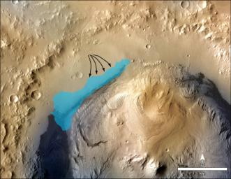 This illustration depicts a concept for the possible extent of an ancient lake inside Gale Crater. The base map combines image data from the Context Camera on NASA's Mars Reconnaissance Orbiter and color information from Viking Orbiter imagery.
