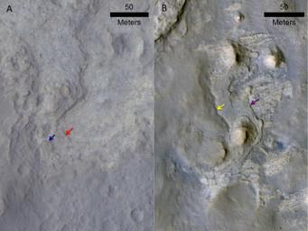 These two images come from the HiRISE camera on NASA's Mars Reconnaissance Orbiter. Images of locations in Gale Crater taken from orbit around Mars reveal evidence of erosion in recent geological times and development of small scarps, or vertical surfaces