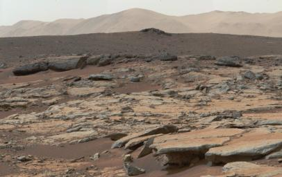 This mosaic of images from the Mast Camera onboard NASA's Curiosity Mars rover shows a series of sedimentary deposits in the Glenelg area of Gale Crater, from a perspective in Yellowknife Bay looking toward west-northwest.