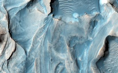 This observation from NASA's Mars Reconnaissance Orbiter covers an outcrop of possible cyclic bedding within a crater in Arabia Terra.