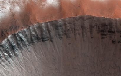 This image from NASA's Mars Reconnaissance Orbiter was planned to search for gully activity in the Northern Hemisphere.