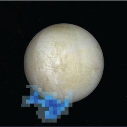 This graphic shows the location of water vapor detected over Europa's south pole in observations taken by NASA's Hubble Space Telescope in December 2012. This is the first strong evidence of water plumes erupting off Europa's surface.