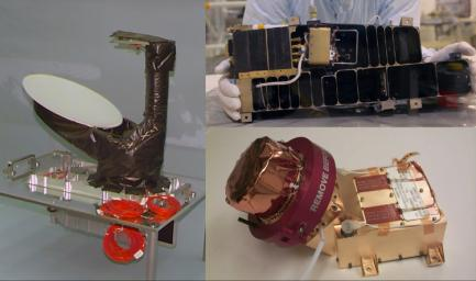 Three of NASA's contributions to the ESA's Rosetta mission are pictured here: an ultraviolet spectrometer called Alice (top), the Ion and Electron Sensor (IES) (bottom left), and the Microwave Instrument for Rosetta Orbiter (MIRO) (bottom right).