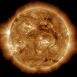 The dark region seen on the face of the sun at the end of March 2013 is a coronal hole (just above and to the right of the middle of the picture), which is a source of fast solar wind leaving the sun in this image from NASA's Solar Dynamic Observatory.